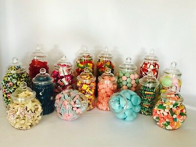 16 ASSORTED Victorian Plastic Sweet Jars Candy Buffet Wedding Party Bday