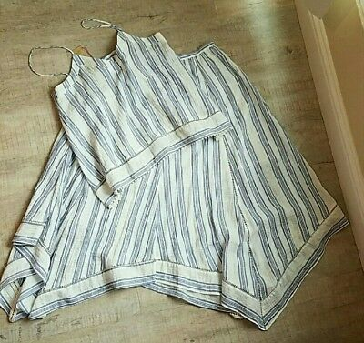 $375 Love Shack Fancy striped skirt and top outfit top size med skirt small