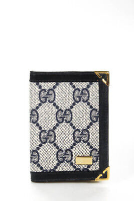 Gucci Vintage Navy Blue Leather Trim Gold Tone Address Book