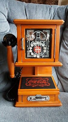 Coca-Cola Nostalgic Wall Phone Rare Push Button Telephone - Real Wood WORKS