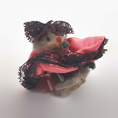Vintage Original Fur Animals Mouse Figurine In Pink Dress With Lace