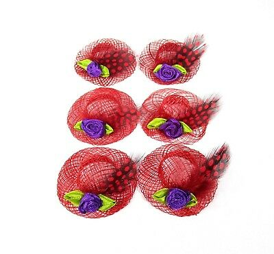 Red Hat Party Favor Set of 6 Purple Guinea Feather Ribbon Flower Society Ladies