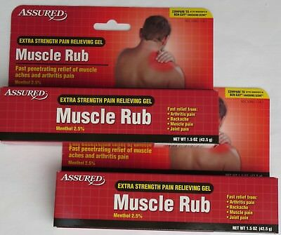 3 PACK ASSURED Extra-Strength Muscle Rub Gel TOTAL 4 5 oz