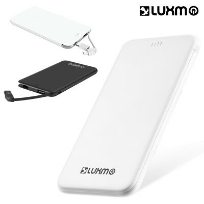 Ultra Slim Charge 5000mah External Power Bank With Built-in Cable - White