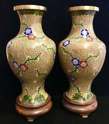 "Pair of Antique Chinese Cloisonne Vases with Original Wood Stands 10.25"" High"