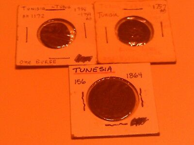 Rare Scarce Lot Group 3 Coins Tunesia 1757 & 1758 -1759 1 Durbe & 1864