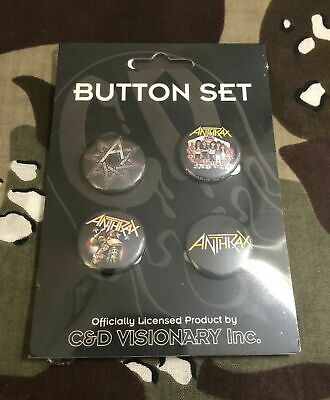 "Anthrax 1"" Four Button Set Metallica Slayer Testament Megadeth"