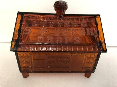 LUTTED'S S P Cough Drops  Amber Log Cabin glass Store Display candy container