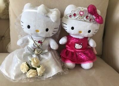 Lot Of 2 Hello Kitty Fashion Plush Hello Kitty Bride Prom Dolls Sanrio Boutique