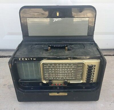 Vintage Zenith Transoceanic Wave Magnet Model 600 Tube Radio 1950's ~ Works?