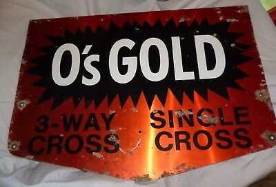 "Vintage Metal Two Sided O's Gold Sign 3 Way Cross Single Cross 24"" x 17"" FARM"