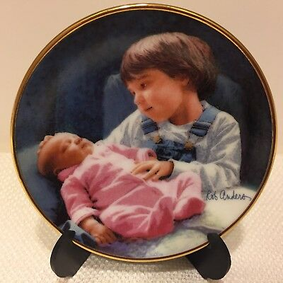 """Rob Anders """"In Good Hands"""" Older brother w/new Little sister mini plate 3"""" COA"""