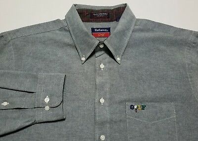 Vintage Hathaway Golf Embroidered Green Chambray Made in USA Mens 17 1/2 Shirt
