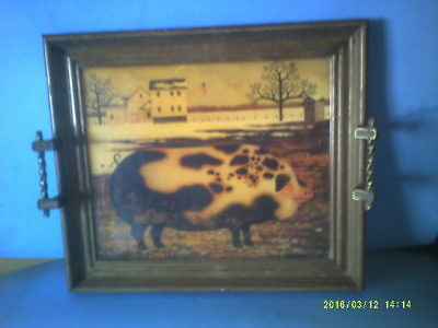 Wood Framed Old Farm Pig Country Scene by Charles Wysocki Lap Tray or Decor