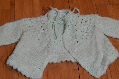 Spring Baby Infant green crochet sweater 0-9 months soft