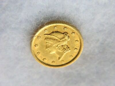 United States 1852 One Dollar Gold Coin Scratch On Reverse