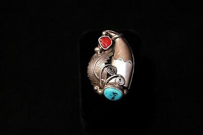 Native American Navajo Men's Bear Claw Ring with Turquoise & Coral, Size 11 1/2
