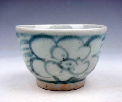 Antique Blue&White Glazed Porcelain Flower Blossoms Hand Painted Cup #05301705