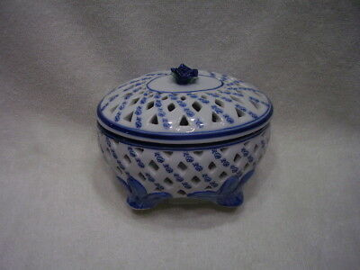 Collectible Antique  Blue & White Porcelain Lidded Footed Bowl Great Gift