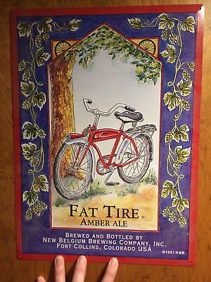 1991 New Belgium Brewing Co Fat Tire Amber Ale Embossed Tin Metal