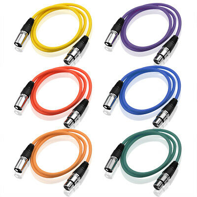 3-Pin Coloured XLR Balanced Audio Cable Microphone Lead Mic Cord Cannon Plug 1m