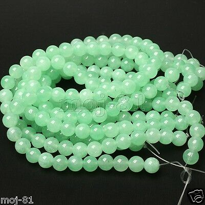 "6mm 100% Natural Light Green Jadeite Jade Round Gemstone Loose Beads 15"" AAA"