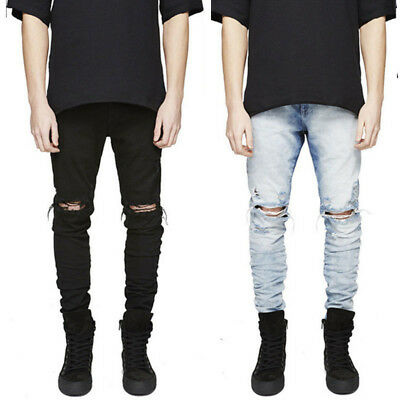 HOT STOCK Men Straight Leg Stretch Skinny Pants Ripped Denim Jeans Hole Trousers