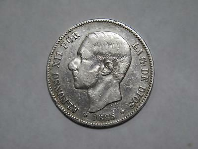 Spain Espana 1883 5 Pesetas Crown Silver Type Old World Coin Collection Lot