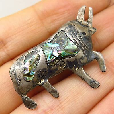 Vtg Mexico Puente Alpaca 925 Sterling Silver Abalone Shell Bull Pin Brooch
