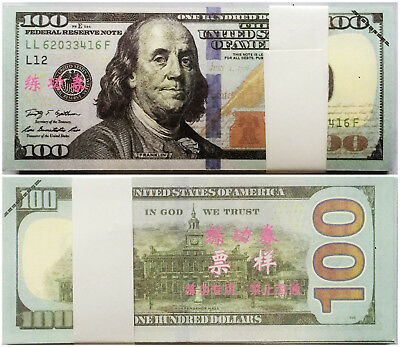 100PCS one full bundle US prop fake prank play money100 dollars actual size