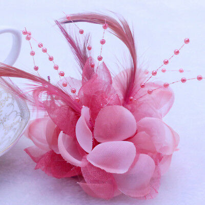 Snow buds Pearl Corsage Hair Clip Flower Fascinator Feather Hairpin wedding