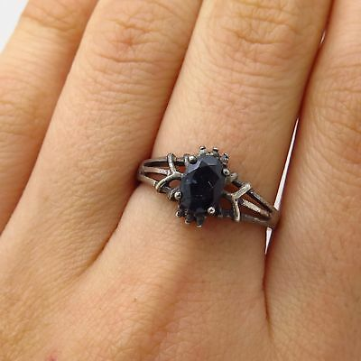 Vtg Signed 925 Sterling Silver Real Sapphire Gemstone Ring Size 7 1/4