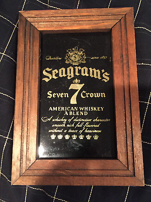 "Vintage Mirror Sign Seagrams Seven 7 Crown Whiskey Bar Man Cave 7"" X 11"""