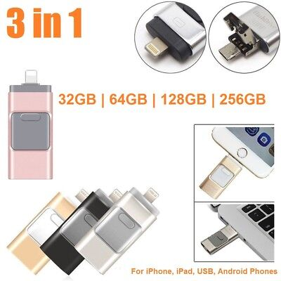 3in1 OTG Flash USB Ultra Disk Drive Lot Thumb For iPhone Android 32/64/128/256GB