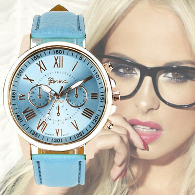 UK Womens Fashion Roman Numerals Faux Leather Analog Quartz Watch Ladies Watches