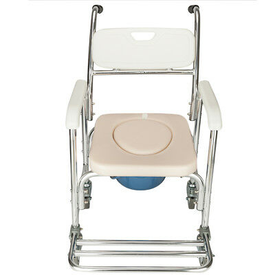 Transport Shower Bedside Commode Wheelchair Medical Toilet Chair w/ Padded Seat