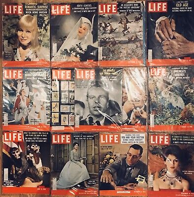 Life Magazines LOT of 13 from 1959 Vintage Ads. L99