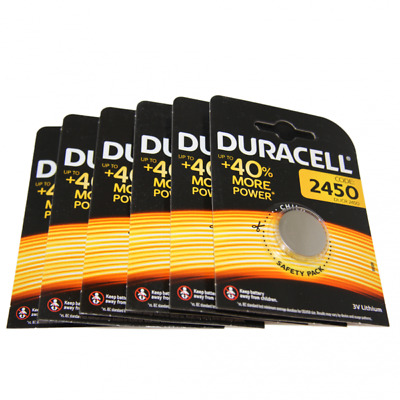 6x Duracell CR2450 3V Lithium Button Battery Coin Cell DL/CR/ECR 2450 Exp. 2026