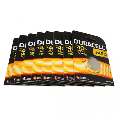8x Duracell CR2450 3V Lithium Button Battery Coin Cell DL/CR/ECR 2450 Exp. 2026