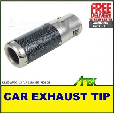 POLISHED STAINLESS STEEL CARBON FIBRE EFFECT CAR EXHAUST TAIL PIPE TRIM 35-50mm