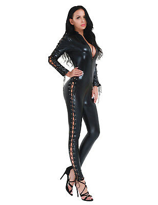 Damen Lackleder Wetlook Catsuit Jumpsuit Lace-up Overall Bodysuit Playsuit Club