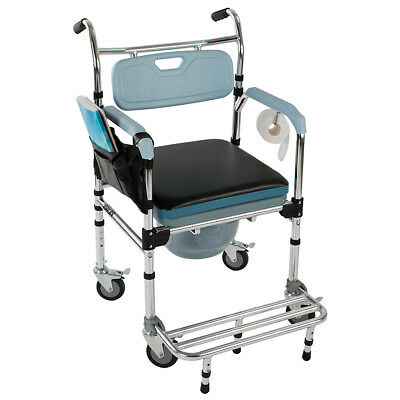 luxury Commode Wheelchair Bedside Toilet & Shower Chair Home/Room Rolling Chair