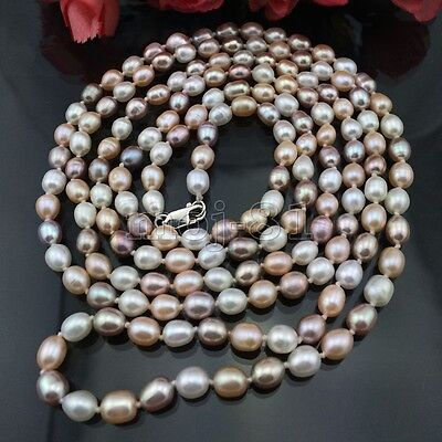 Genuine 7-8MM Natural Multicolor Freshwater Cultured Pearl Necklace 31'' Long