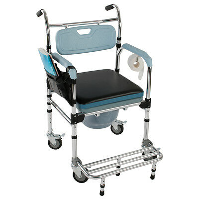 4-in-1 Commode Wheelchair Bedside Toilet & Shower Chair Home/Room Rolling Chair
