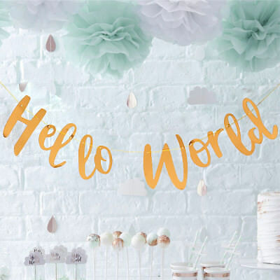 HELLO WORLD BABY SHOWER BUNTING / Banner / Garland / Unisex Hanging Decoration