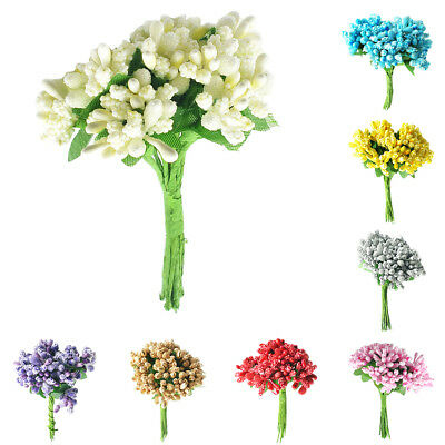 A Bunch of 12x Colorful Artificial Flower Stamens Pistil for Bridal Wedding