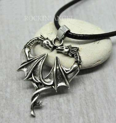 Antique silver plt double dragon heart pendant necklace viking norse antique silver plt double dragon heart pendant necklace viking norse slavic gift mozeypictures Gallery