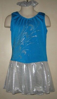 Pretty Turquoise and Silver Competition Figure Skating Dress Girl's 6