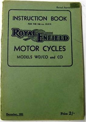 ROYAL ENFIELD 346cc OHV Military WD/CO CO 1951 Original Motorcycle Handbook