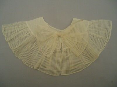 Vintage / Antique Off White Organdy Ruffled Collar Striped with Bow